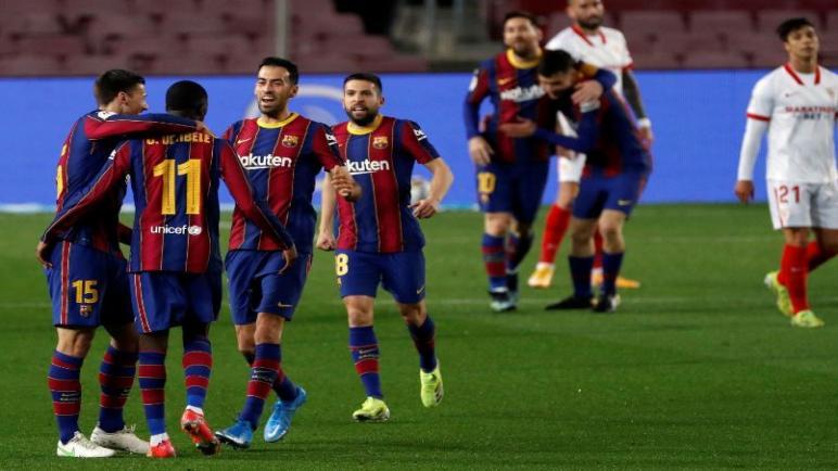 برشلونة يسقط اشبيلية بثلاثية نظيفة ويتأهل لنهائي كأس ملك اسبانيا