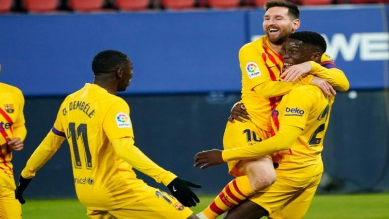 برشلونة ينتصر علي أوساسونا ويقلص الفارق مع اتليتكو